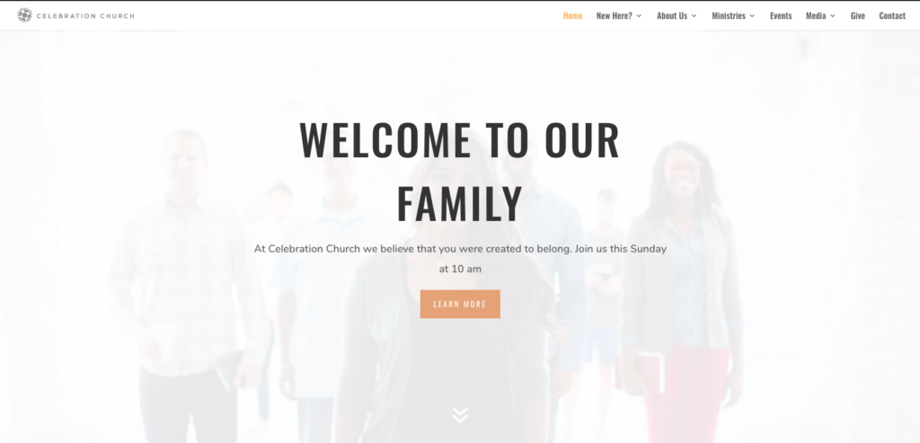 simple church website homepage design