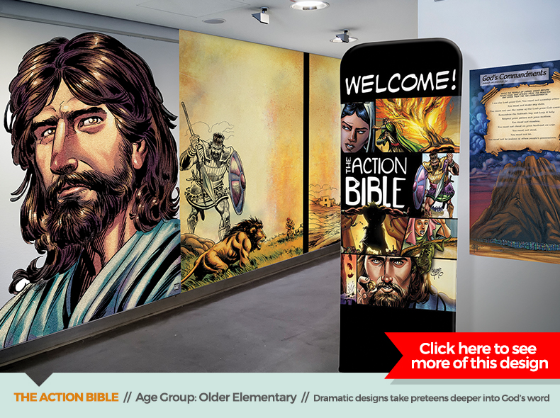 action bible theme children's ministry decor from outreach