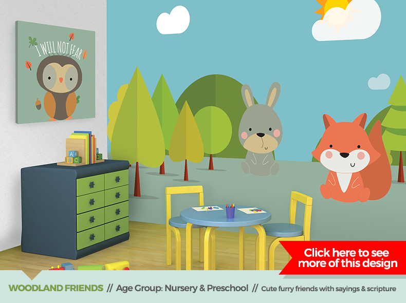 woodland friends theme children's ministry decor from outreach